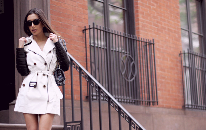NYC top blogger Ulia Ali in Walter Baker's iconic Keanu trench coat. Azeri model in New York