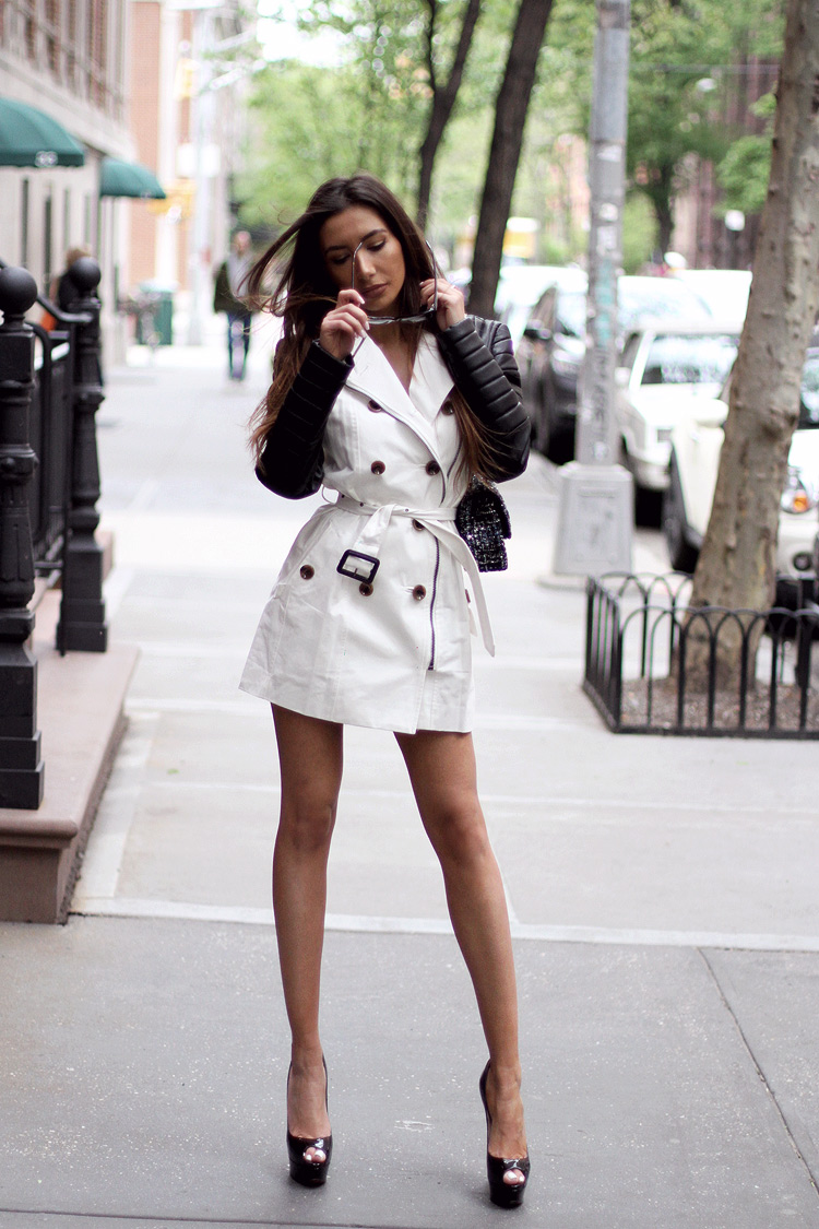 NYC top blogger Ulia Ali in Walter Baker's iconic Keanu trench coat. Hot Outfit in New York. Babe Alert
