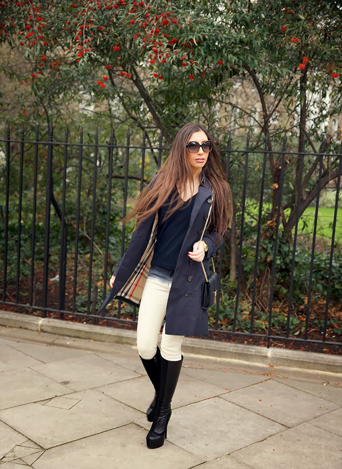 Navy burberry trench look