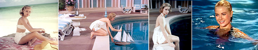 Grace Kelly on a beach and pool
