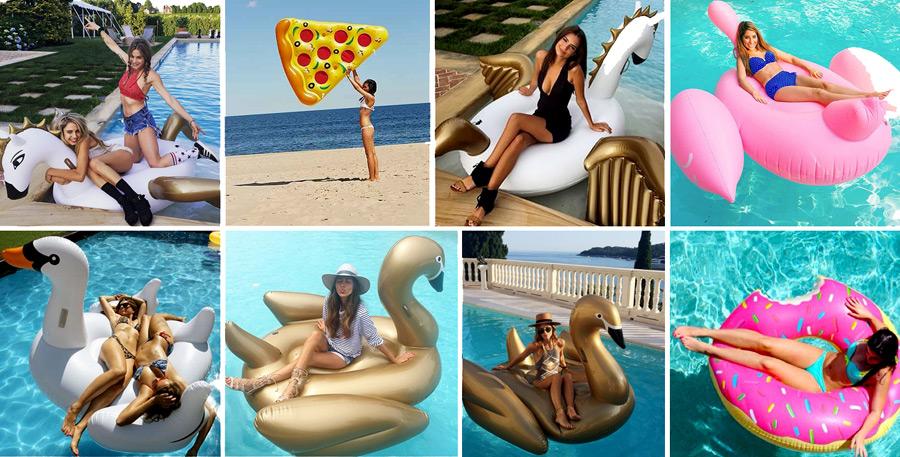 Cute fun floaties! Swans, donuts and pizza floaties in pool
