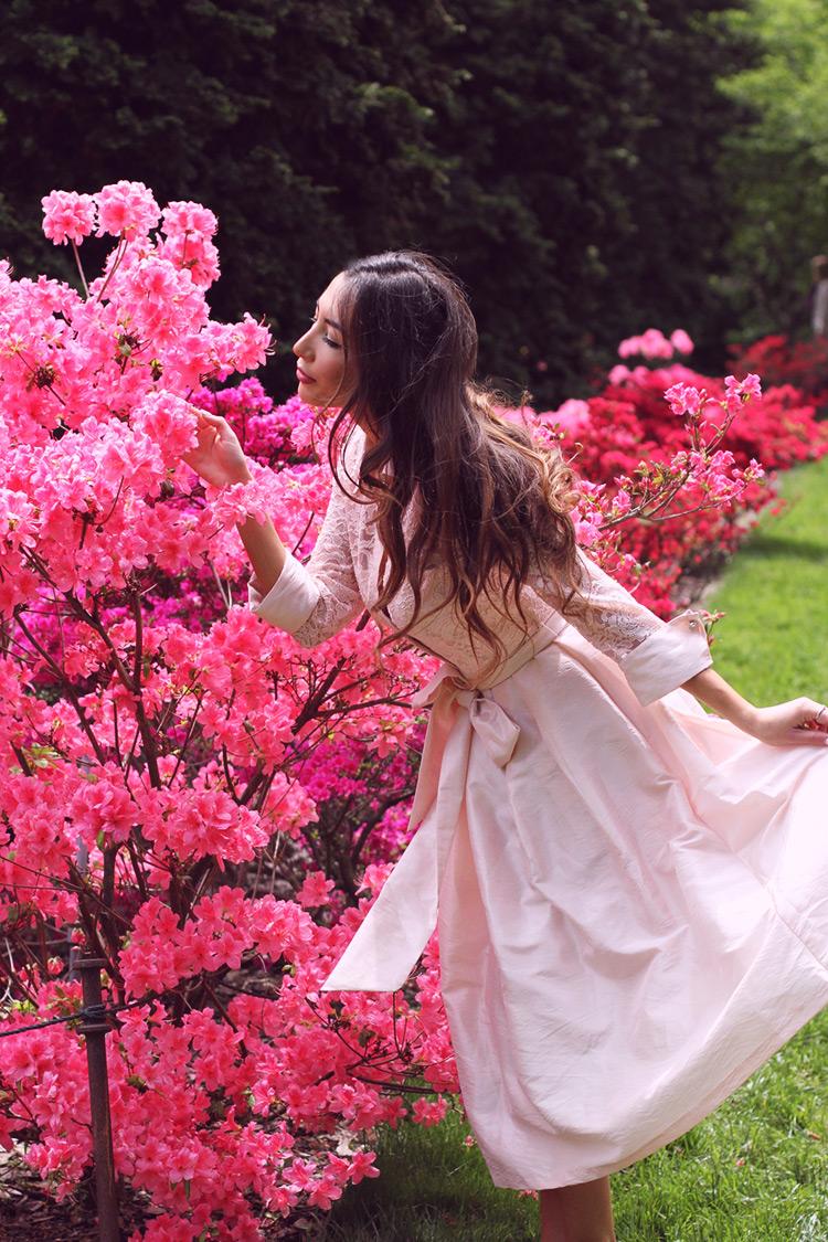 Ulia Ali in pink Eliza J dress.