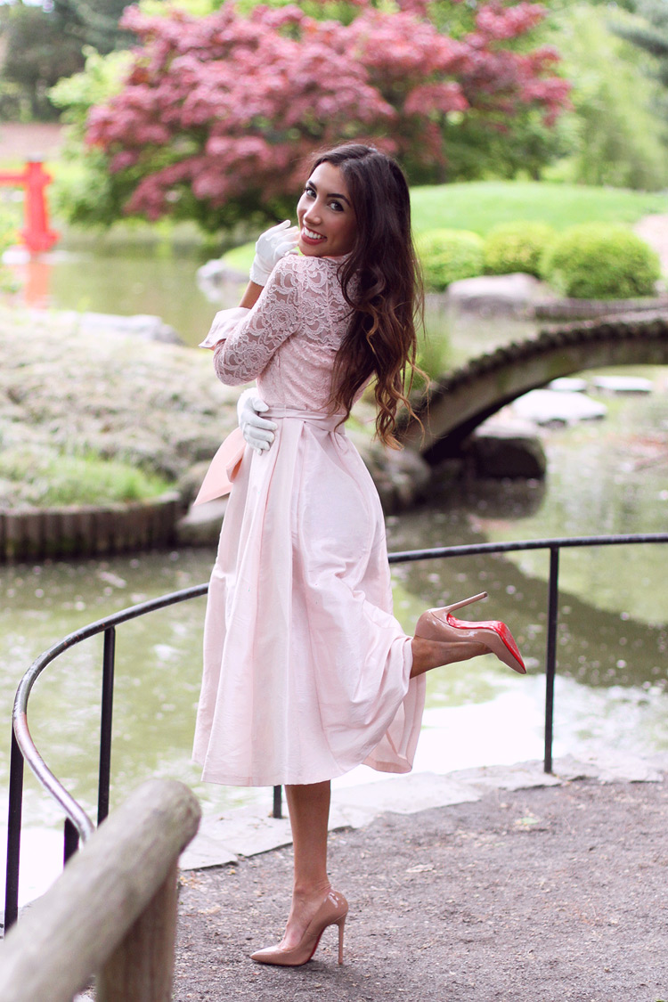 Ulia Ali in Pink Eliza J dress