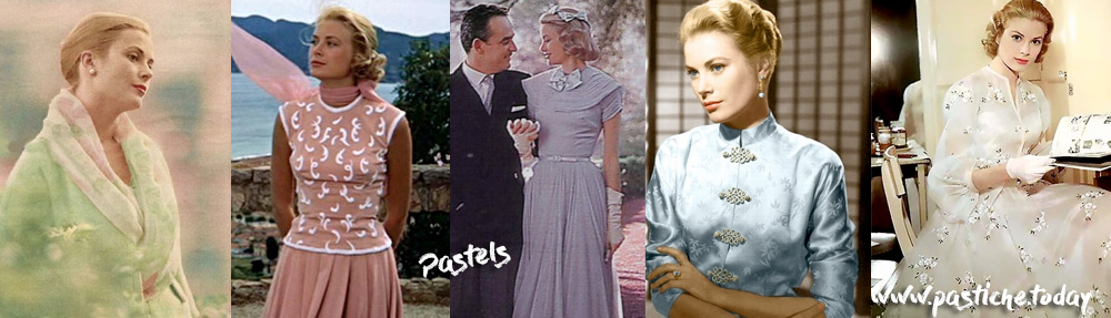 Grace Kelly pastel outfits. Gorgeous style of Princess of Monaco.