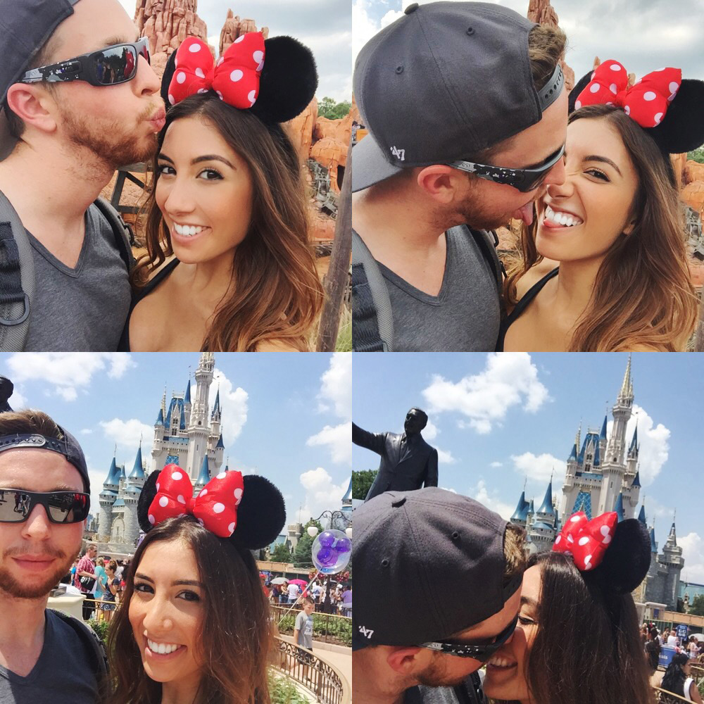 Young couple in love in DisneyWorld in Florida. 4th of July