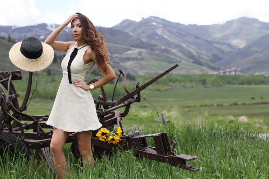 Ulia Ali in Park City, Utah. Wearing Zara Dress.