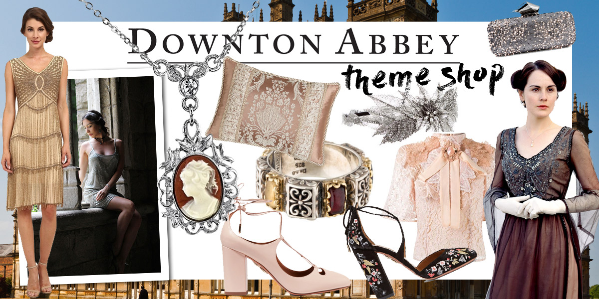 Downton Abbey themed shop. Fashion looks, gifts and items of decor inspired by the British Show.