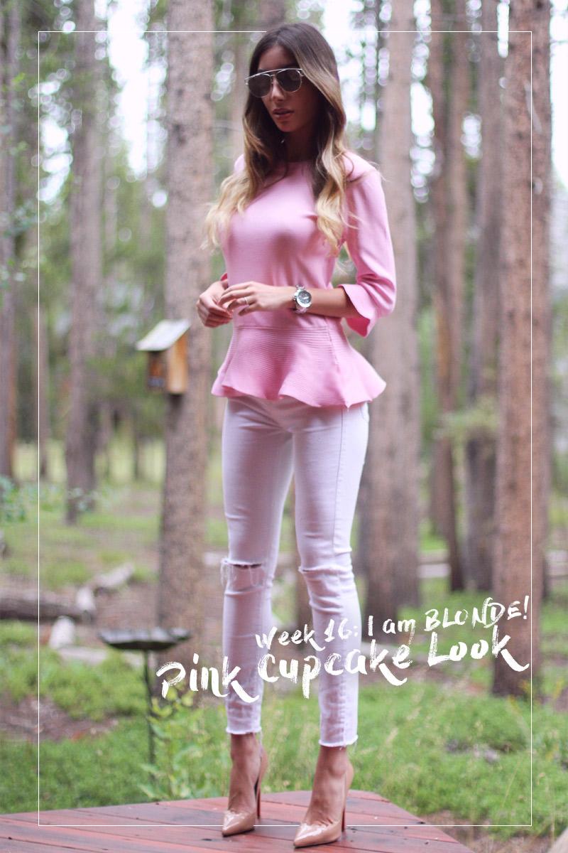 Pink Peplum Look from Shein