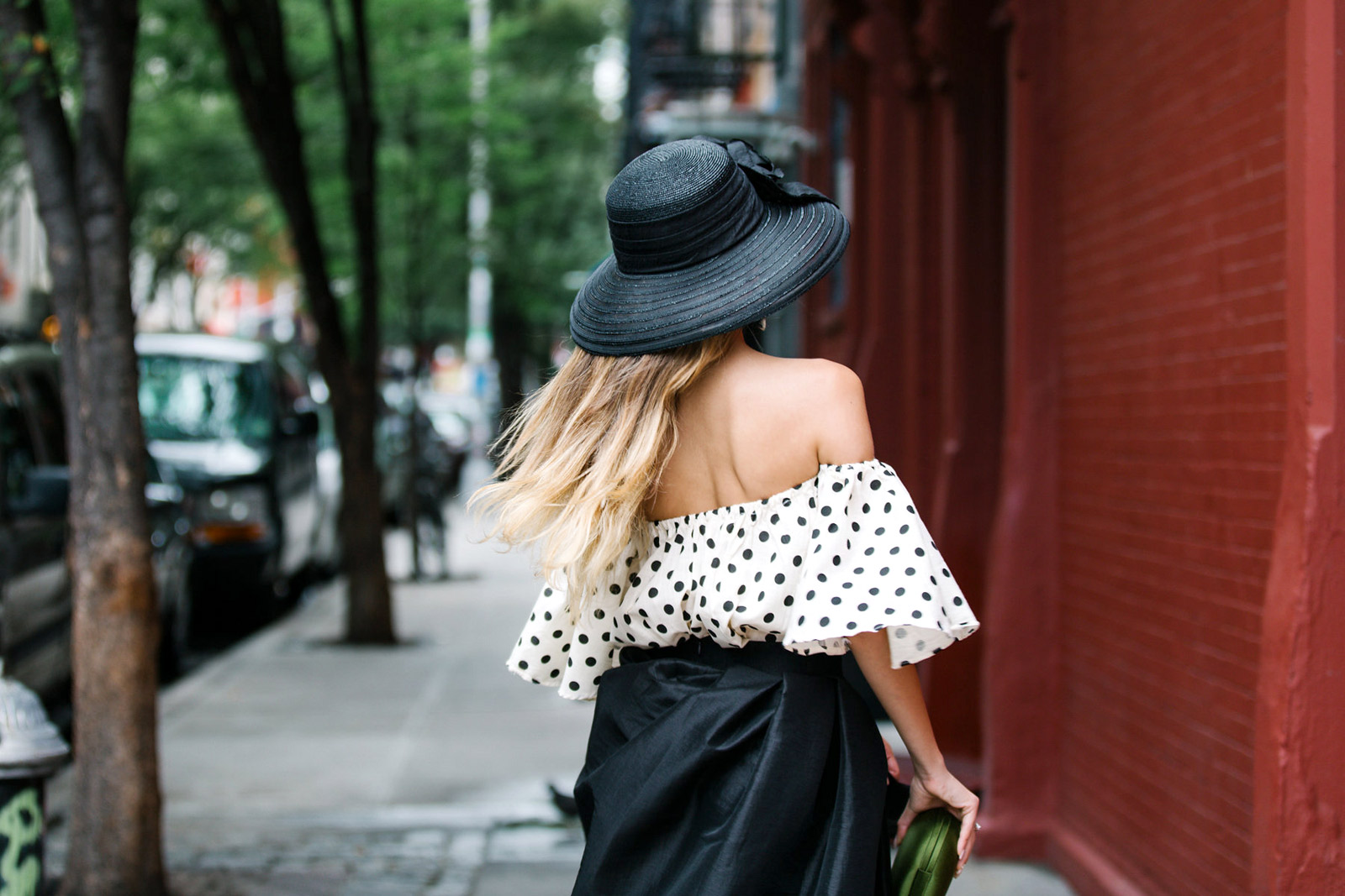 Beautiful blonde girl in Soho, New York City. Streetstyle