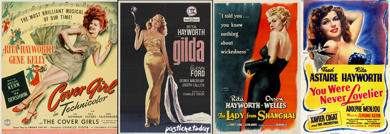 Film posters with Rita Hayworth.