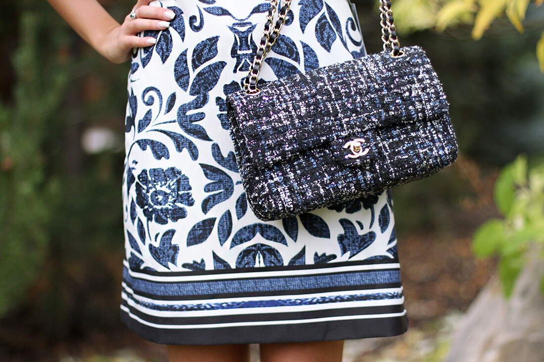 Eliza J blue and white   dress with long sleeves. Chanel Tweed Blue bag.