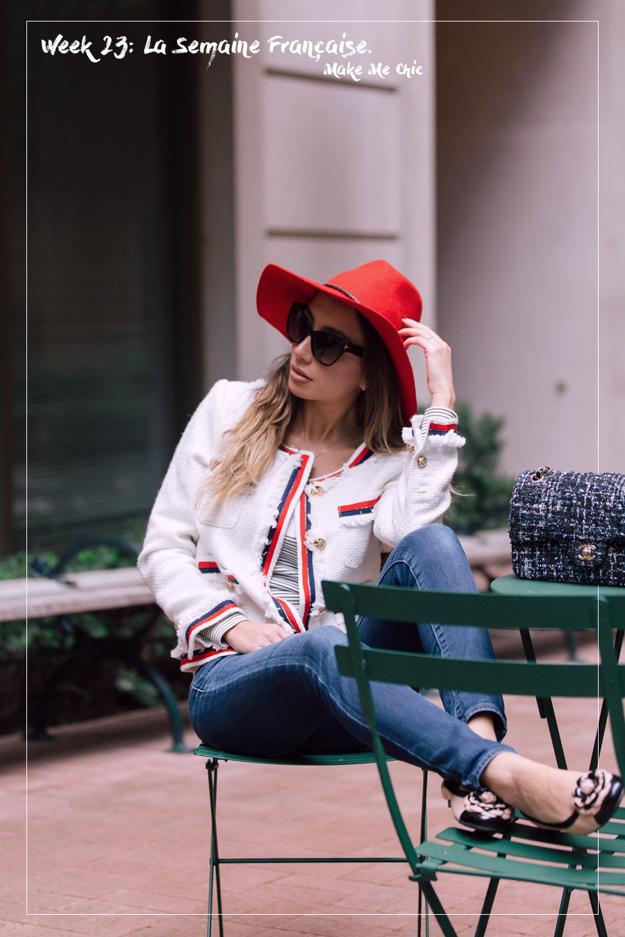 Make Me Chic online store. Chanel inspired white tweed jacket look.