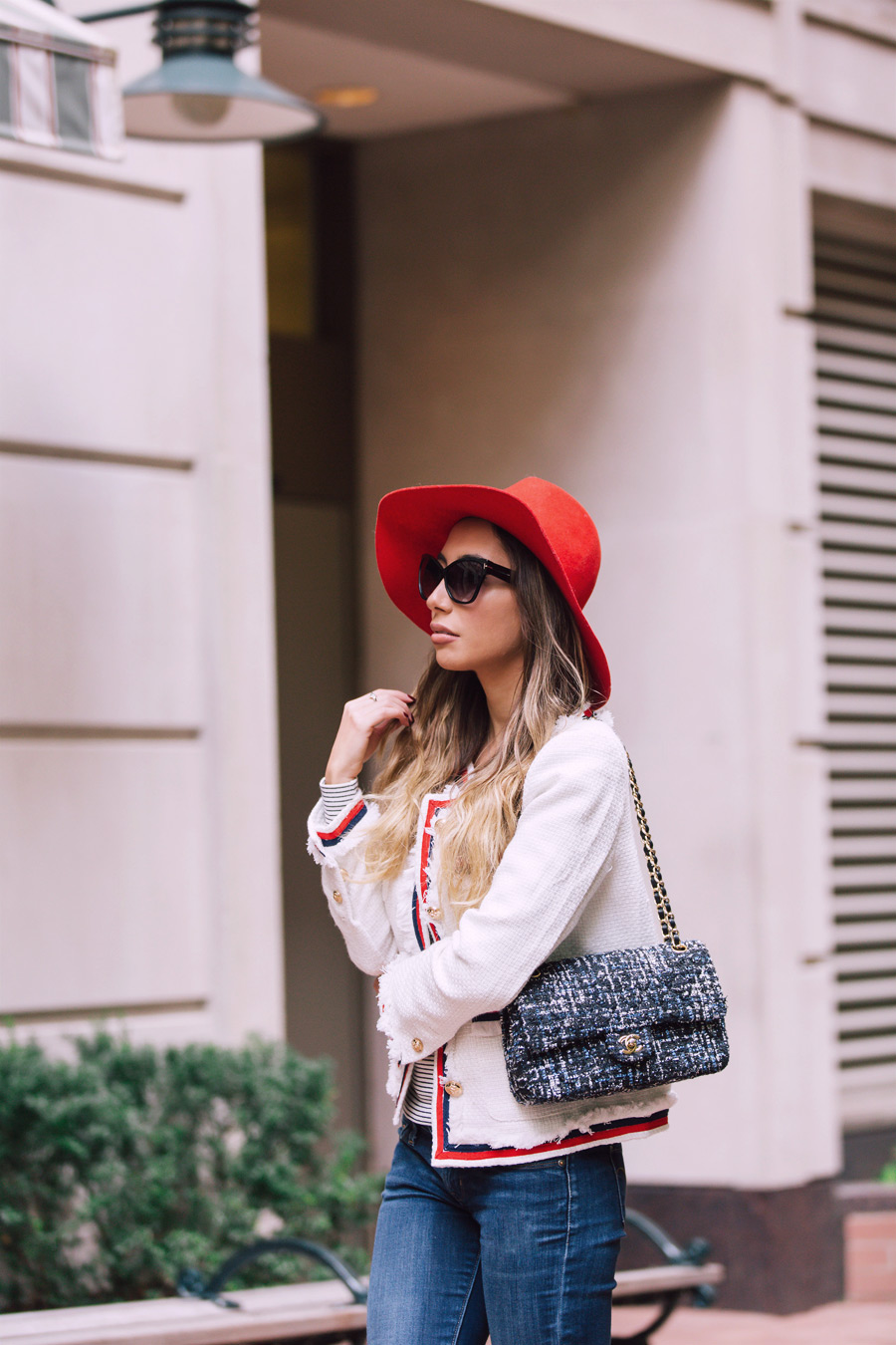 Chanel bag and white tweed jacket by Make Me Chic. Emilio Pucci red hat for fall autumn.