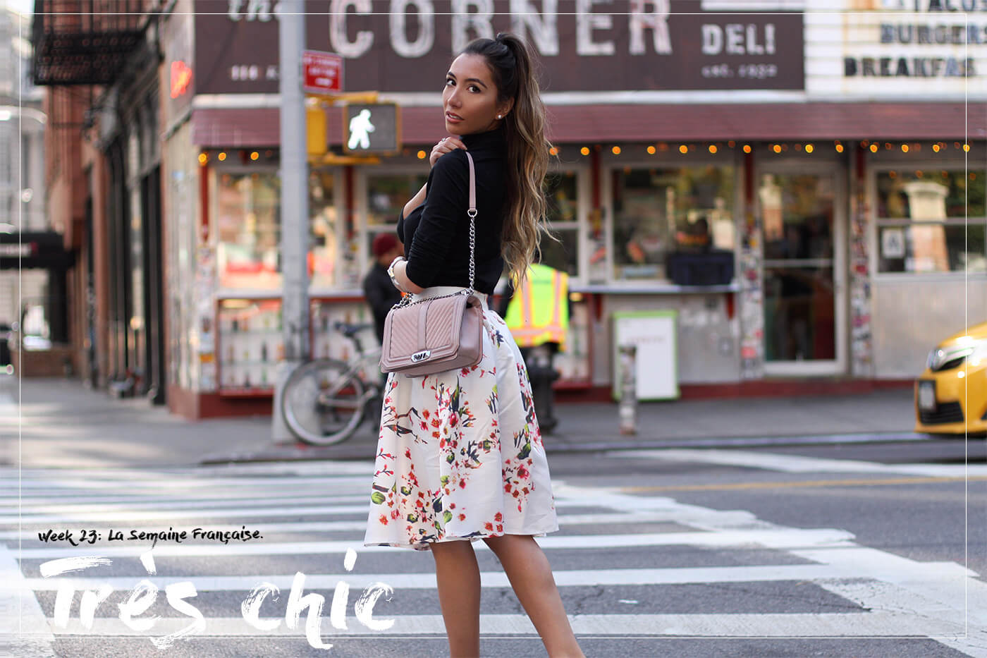 Make me chic floral skirt on blogger in NYC.