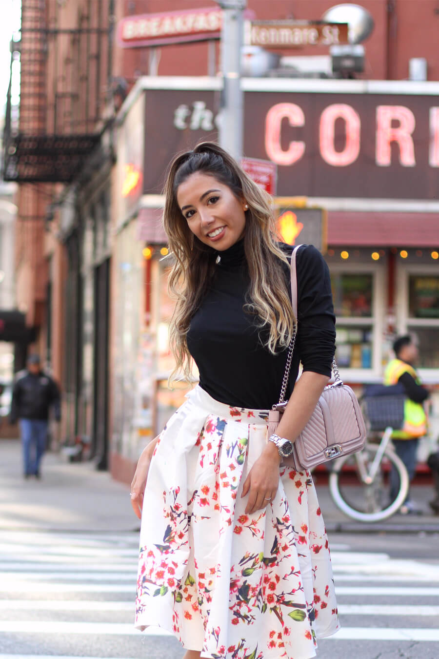 Black turtleneck from Land's End and Make Me chic floral skirt. Fall style report.