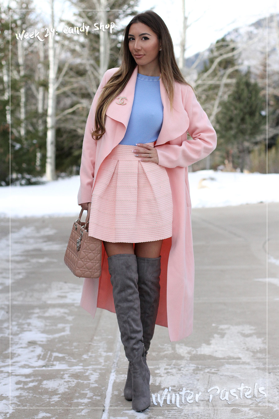 Winter pastels look. Stuart Weitzman boots, long pink coat, blue sweater