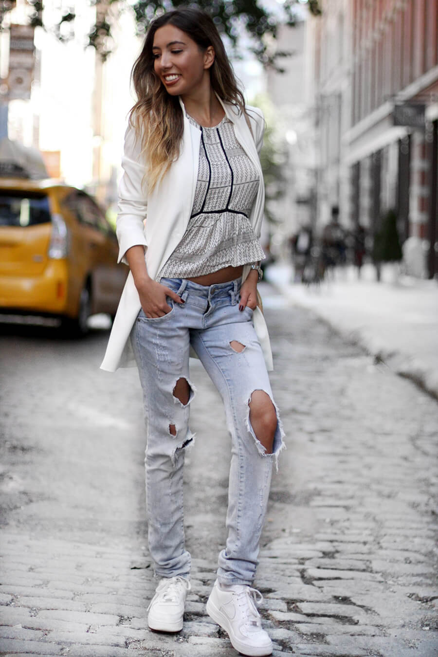 Ripped sexy jeans look