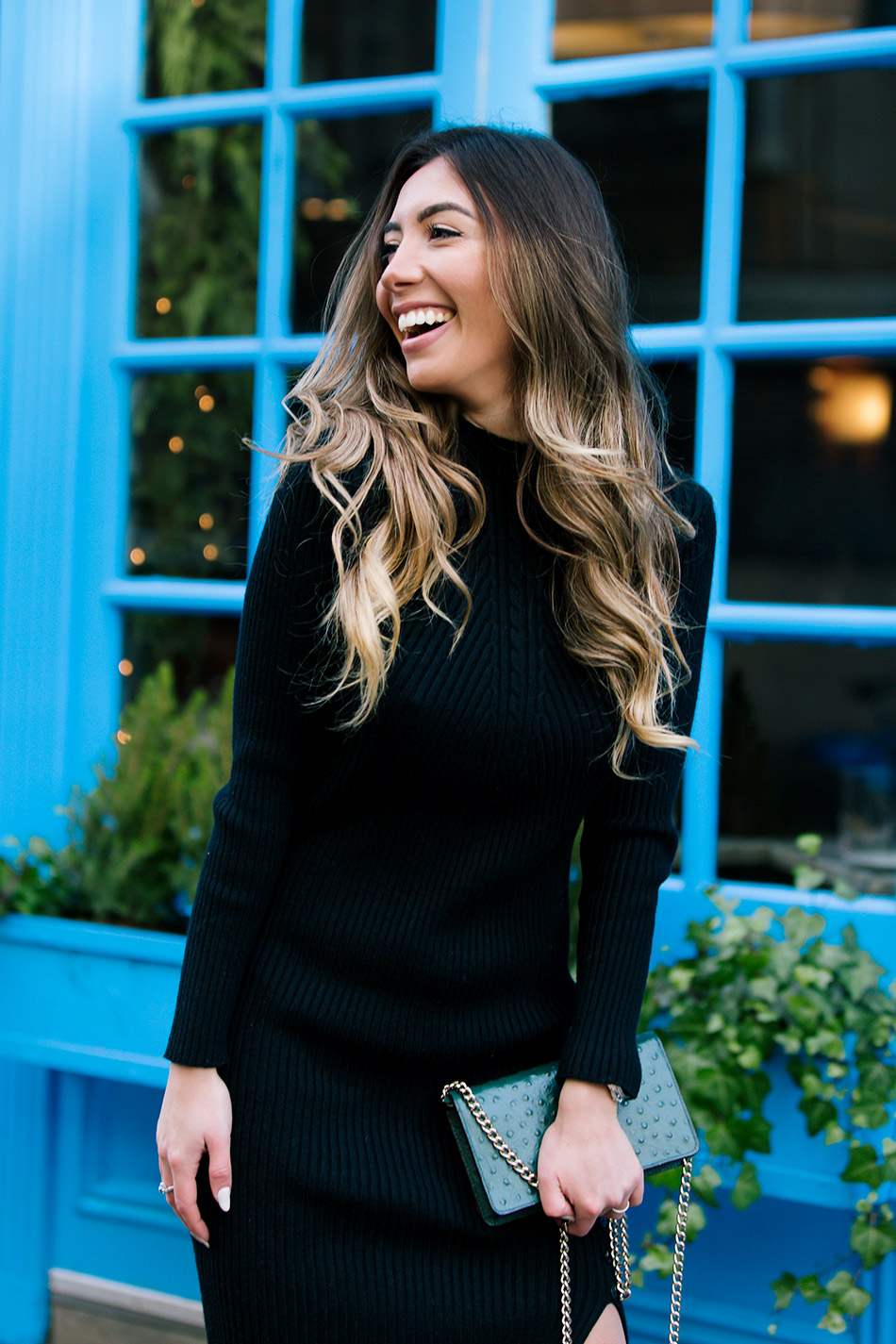 Ombre blonde blogger in a black dress from SammyDress and green Kate Spade bag.