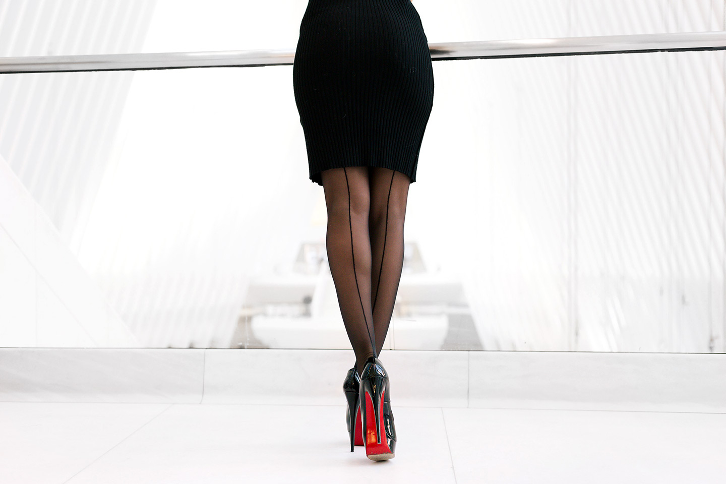 Christian Louboutin black heels with Oroblu in WTC, Oculus.