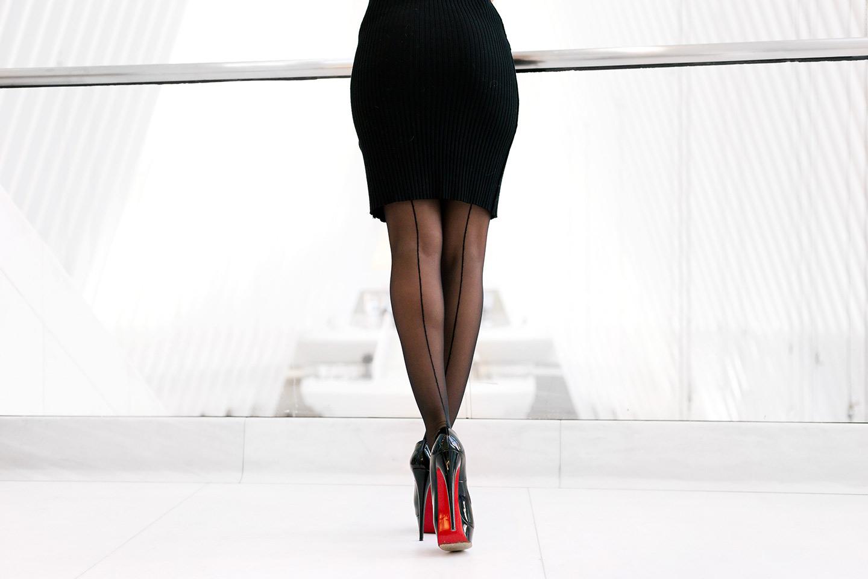 Christian Louboutin black heels with Oroblu in WTC, Oculus.