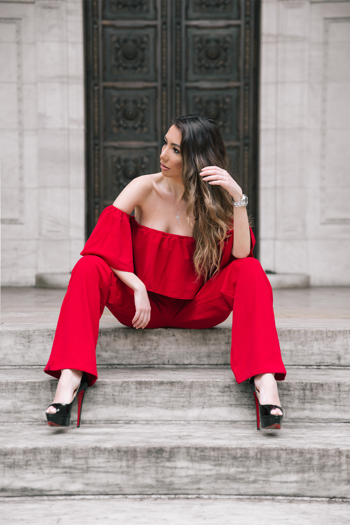 Red Jumpsuit off shoudelrs. Fashion style
