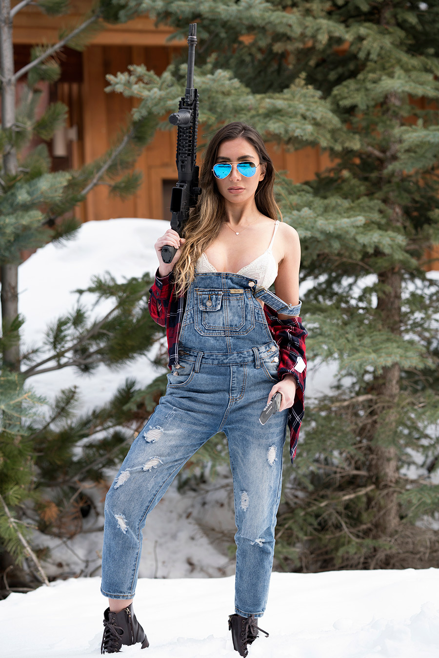 Hot babe with a gun in Park City, Utah.