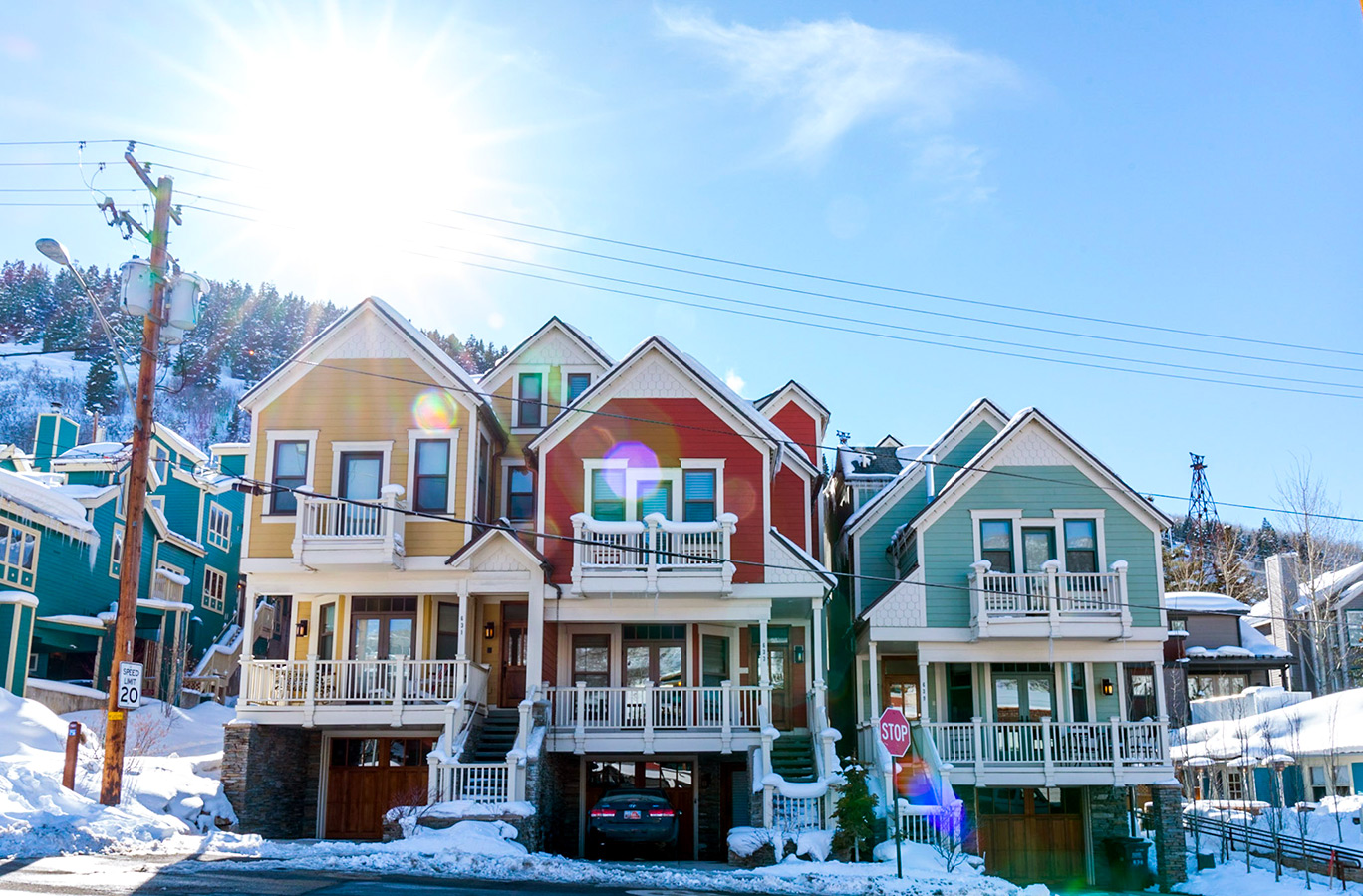 PArk City colourful houses