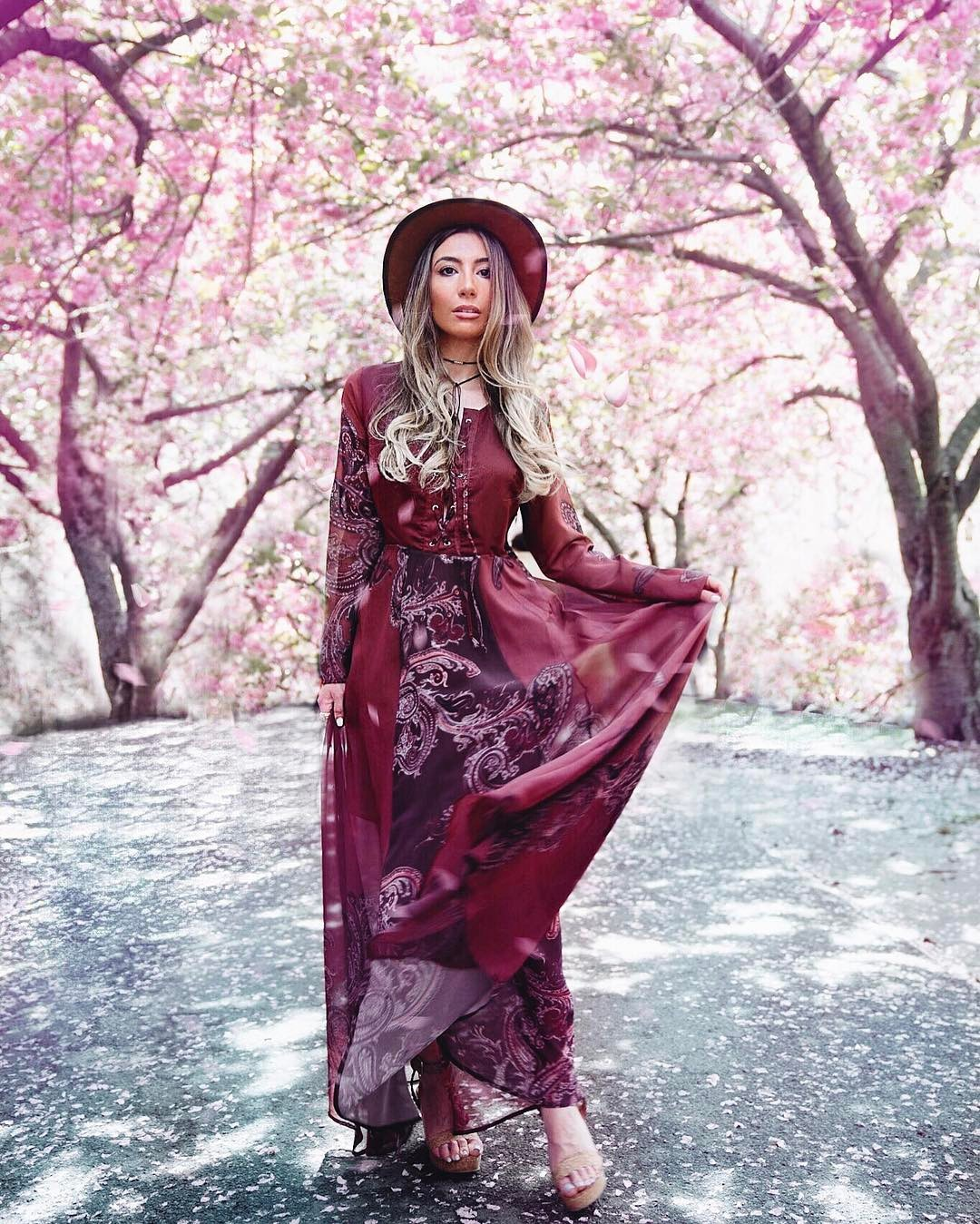 Cherry blossom in NYC by Ulia Ali in California Moonrise dress.
