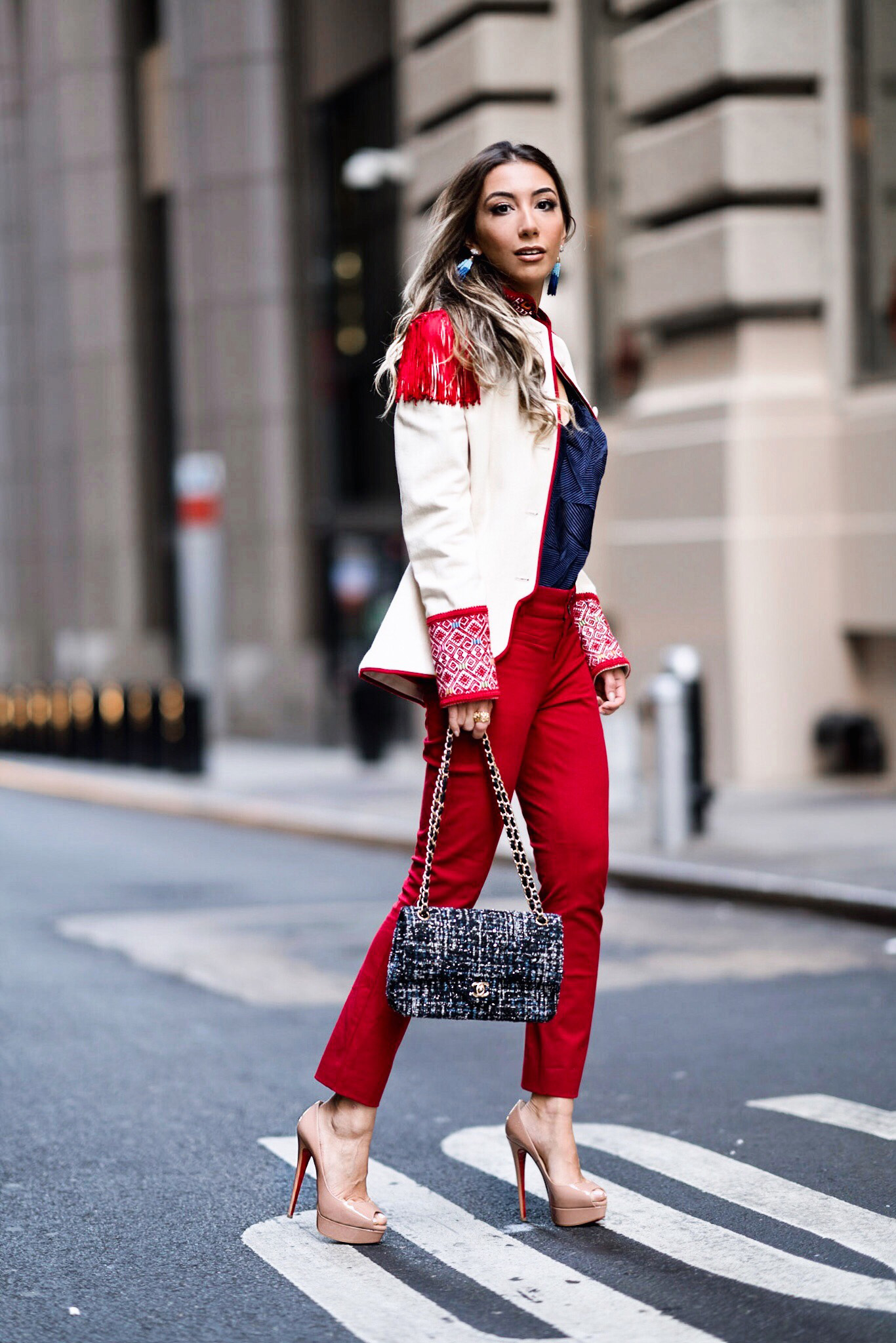 Ulia Ali   wearing Pablo Garibi, Chanel and Christian Louboutin. One of my favorite NYFW looks this year!