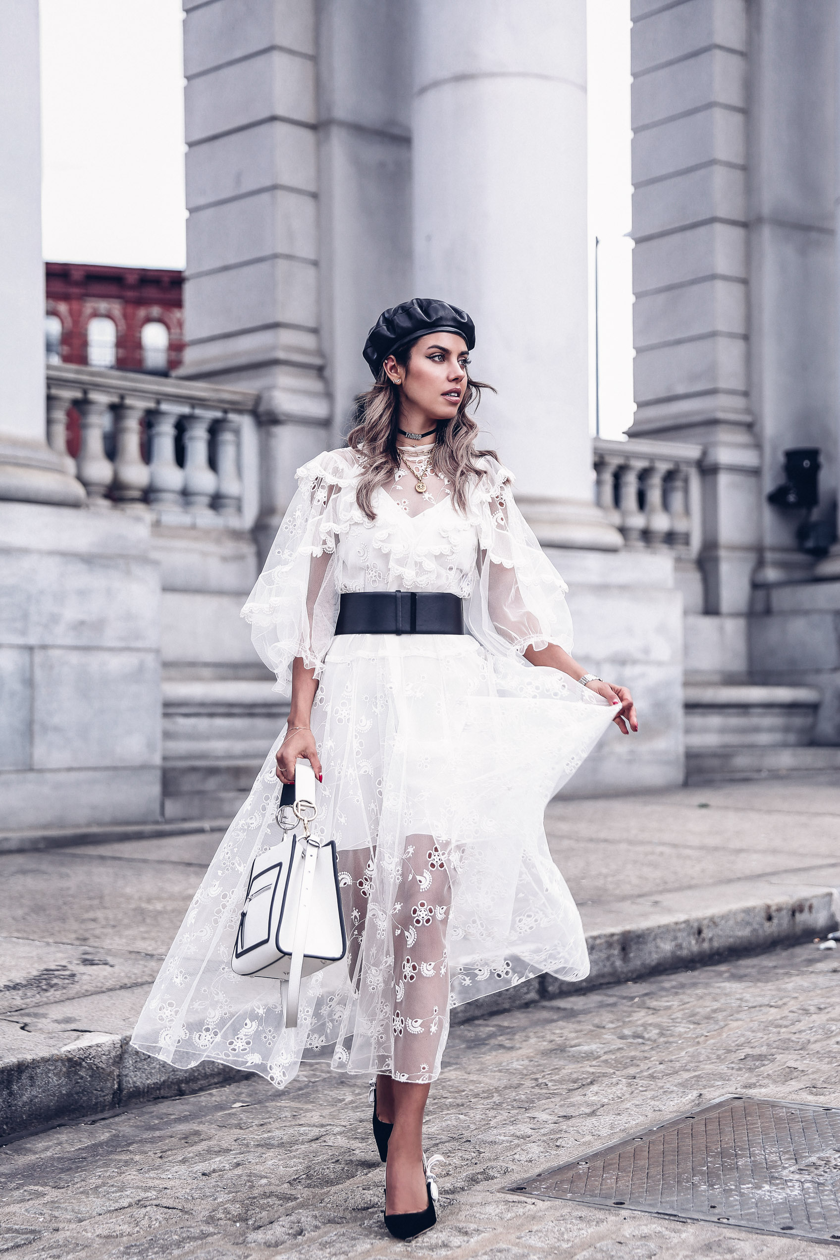 One of the most beautiful fashion bloggers,  Anabelle Fleur , looks amazing in this white Chloe dress during New York Fashion Week. Via  @vivaluxuryblog
