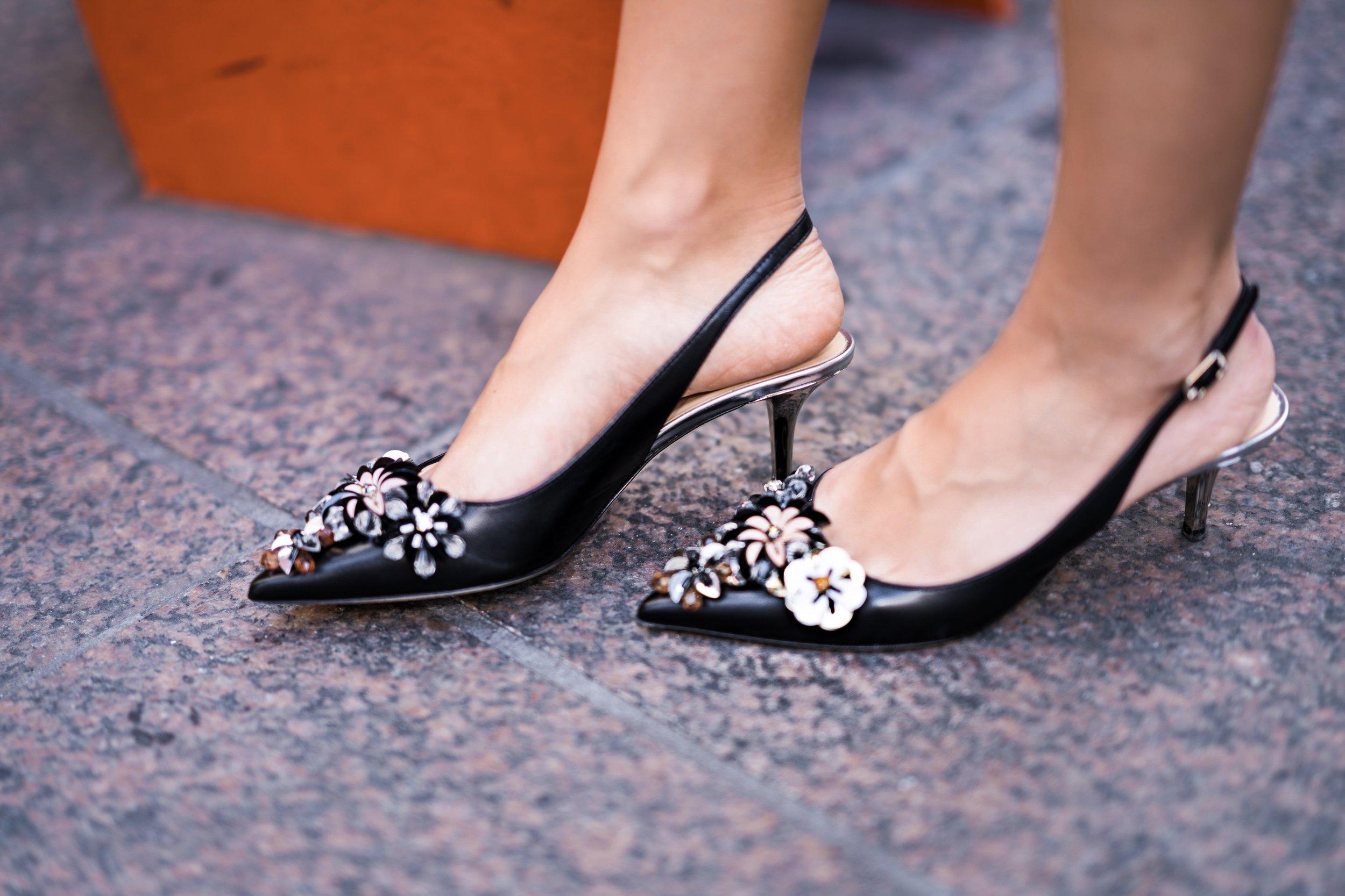 Floral kitten heels.
