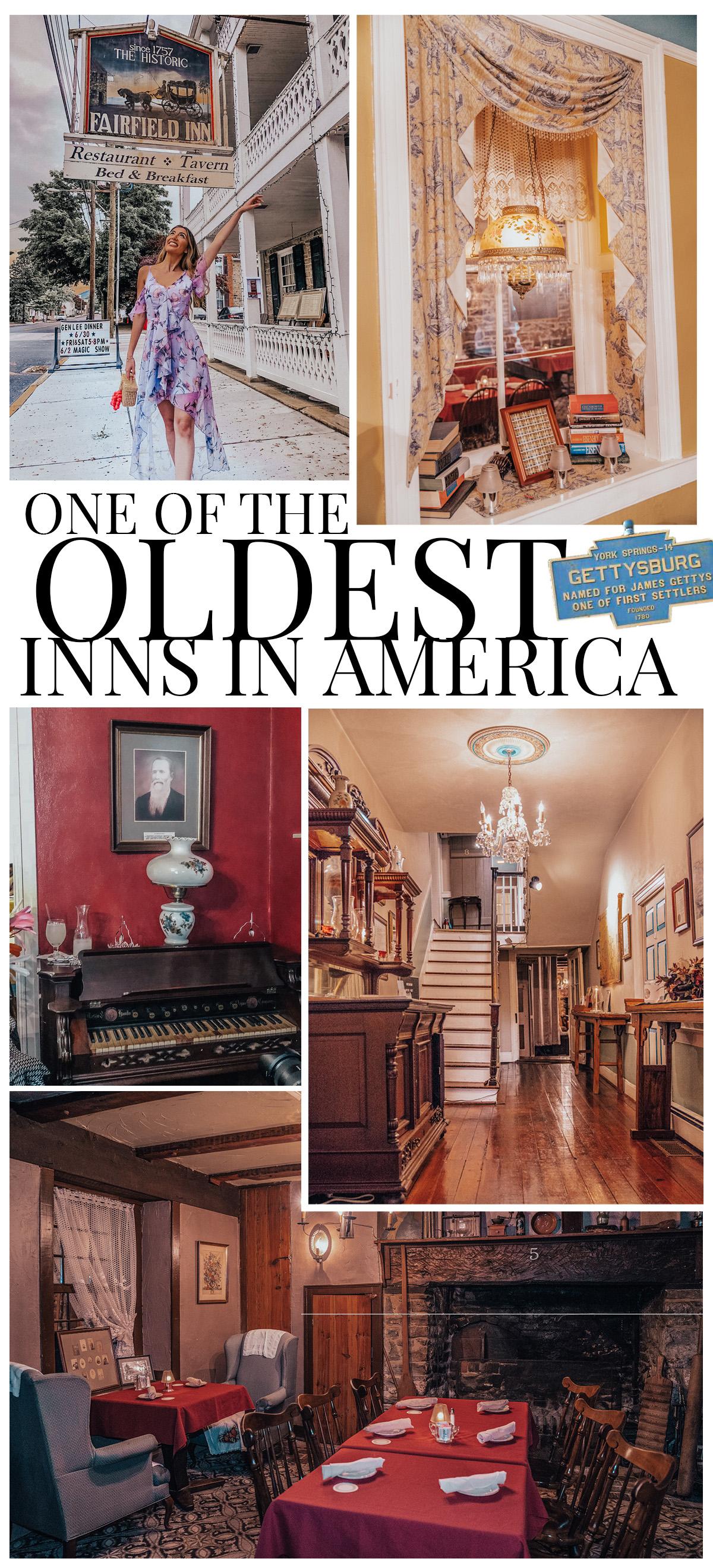Review on oldest inn in America - The Historic Fairfield Inn in Gettysburg, Pennsylvania