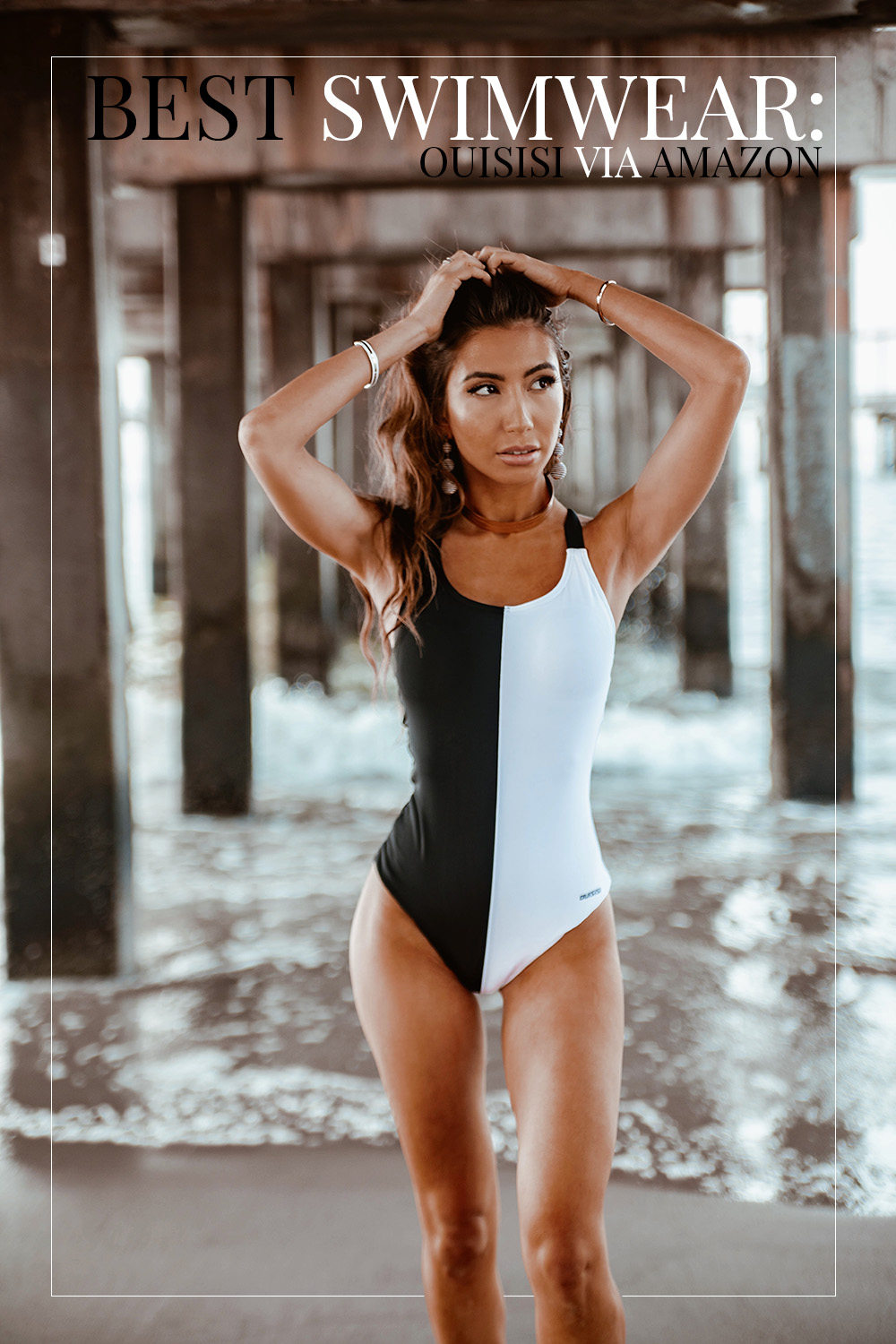 Ulia Ali in Ouisisi swimsuit. Amazon swimwear review.