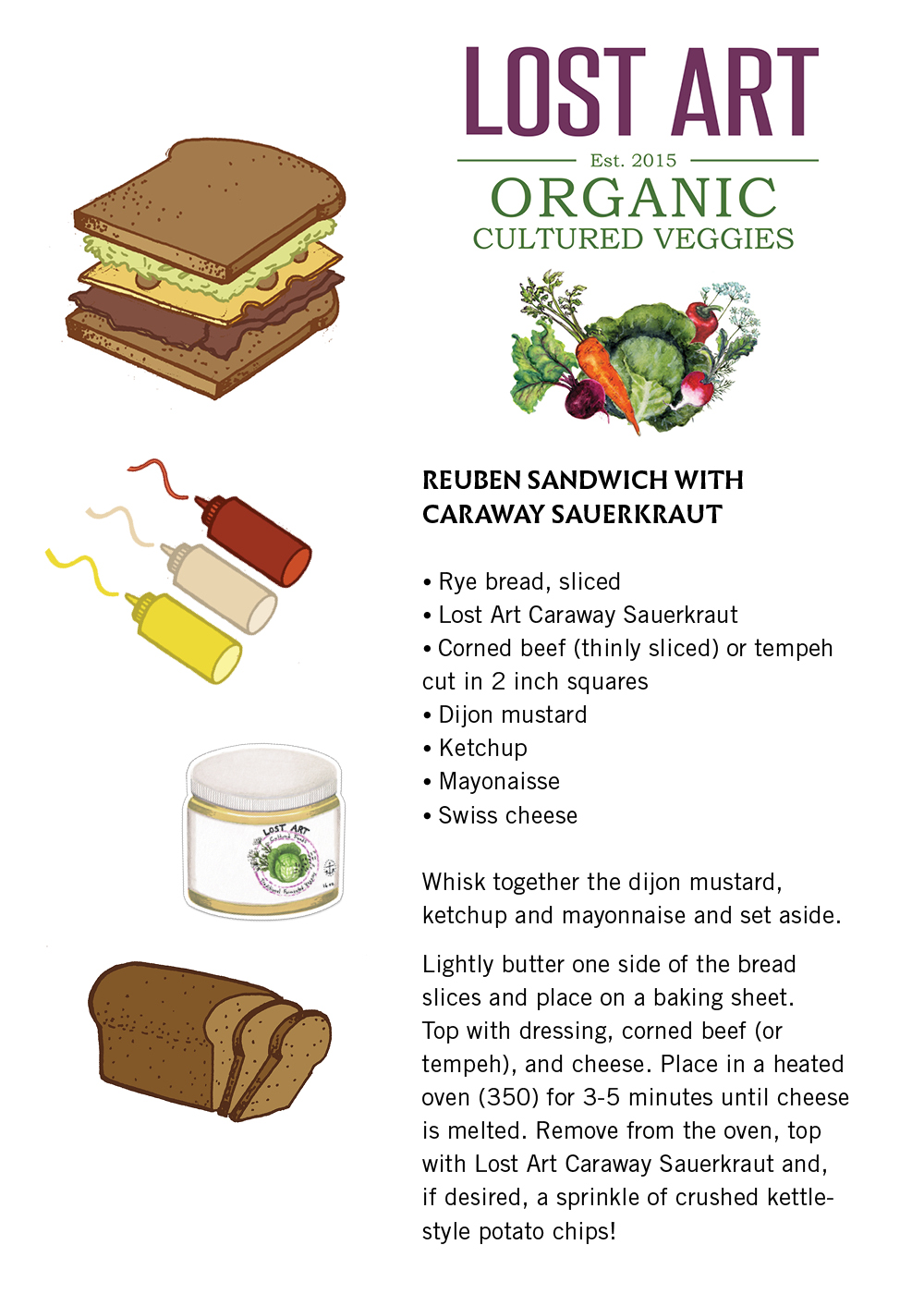 Caraway Kraut:  Reuben Sandwich Recipe. (Click to enlarge & print)