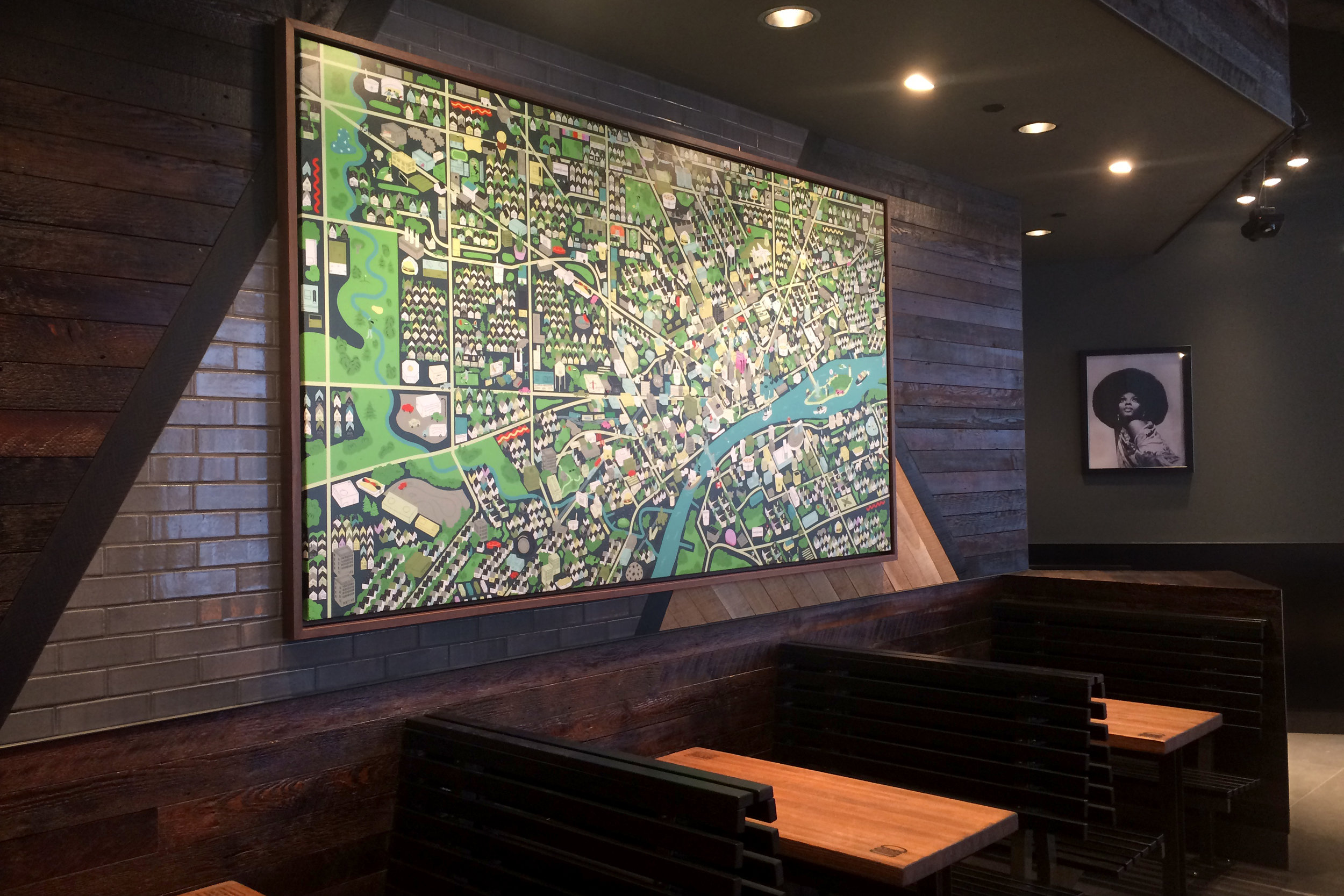 Canvas Installation - Shake Shack Detroit, MI - Isometric View of Detroit / Windsor by: Jesse Kassel
