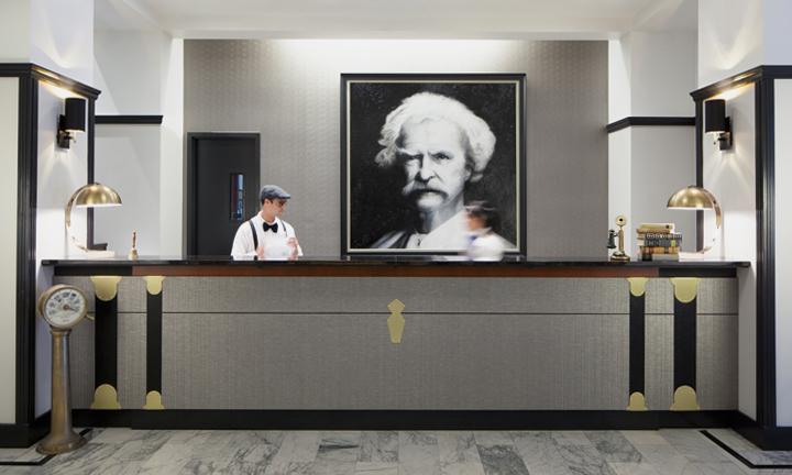 Mark Twain Hotel reception desk in San Francisco, CA - Anthony Laurino Design