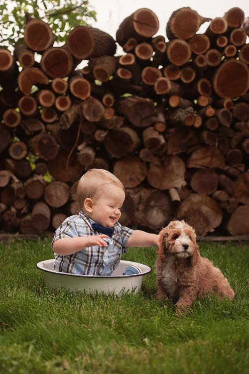 Baby with Cavapoochon Puppy