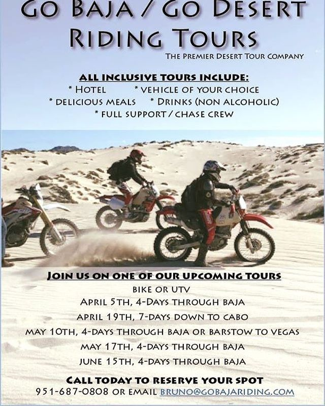 Who is ready for an exciting adventure? Mark your calendar because Go Baja Riding Tours has upcoming dates with spots available. Our tours are all inclusive, all you need to do is sign up and show up ready to ride. Give us a call or email us to reserve your spot. 951-687-0808 or bruno@gobajariding.com