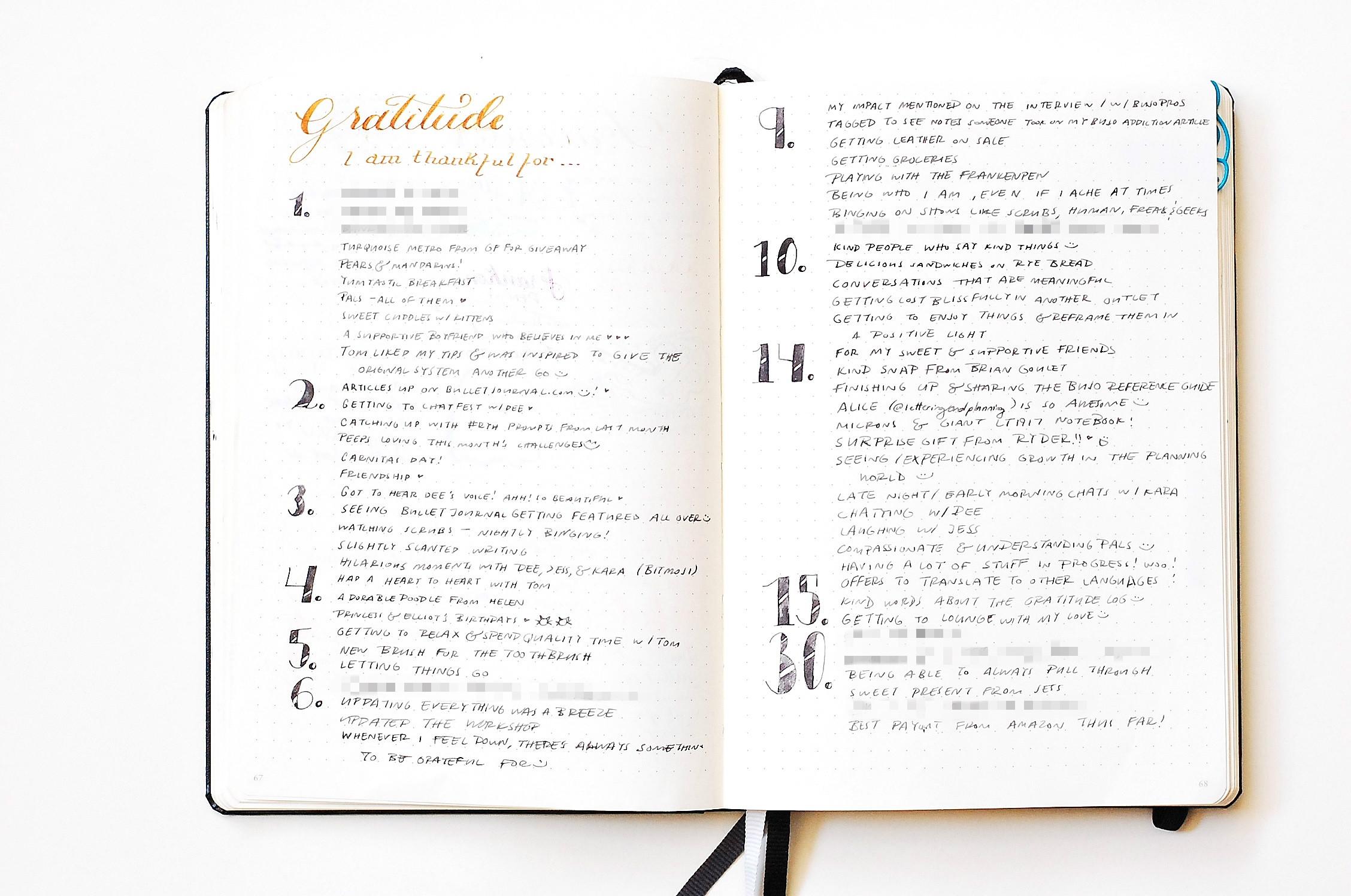 april 2016 gratitude log - bullet journal