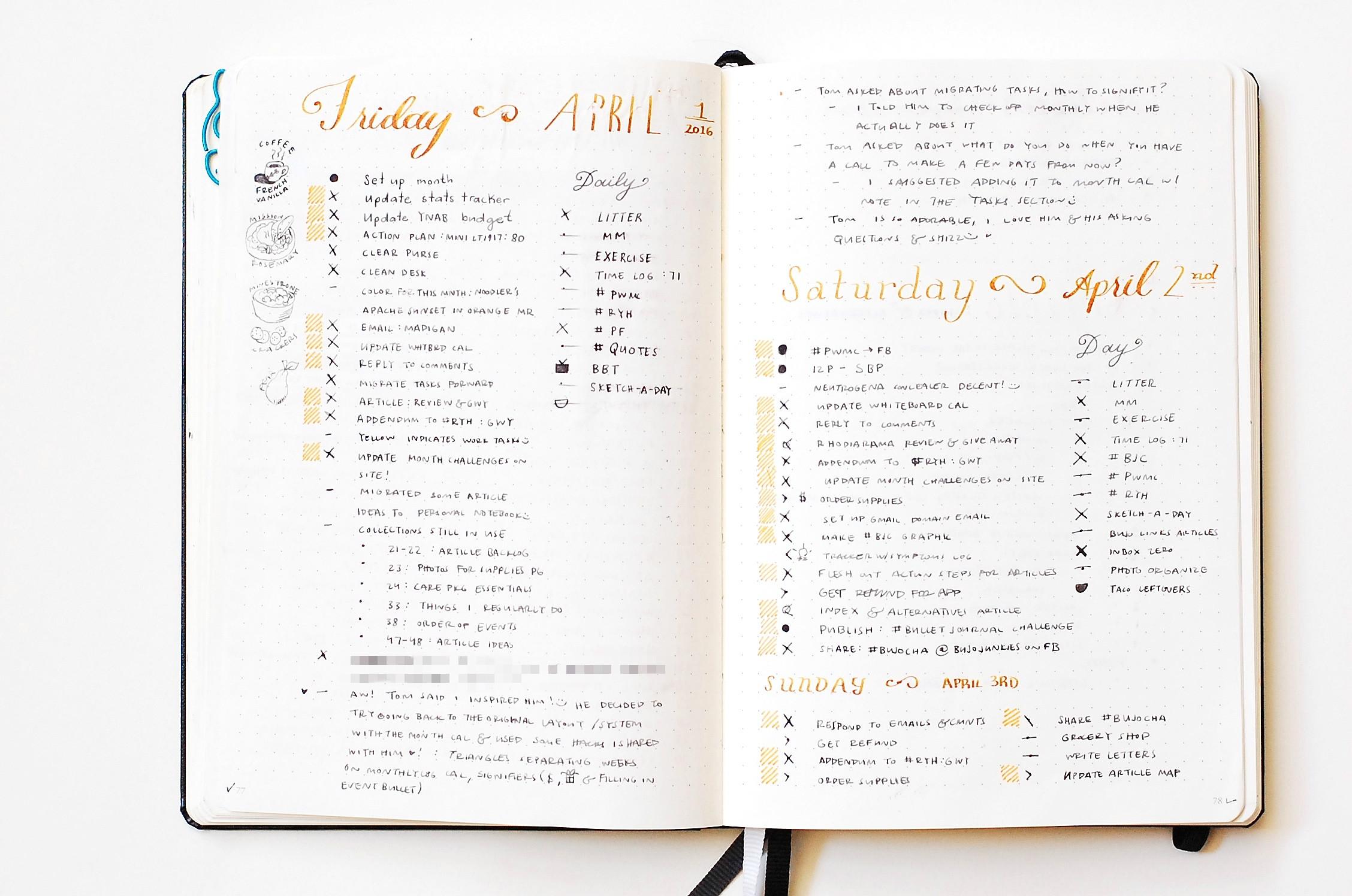 daily log 1 bullet journal