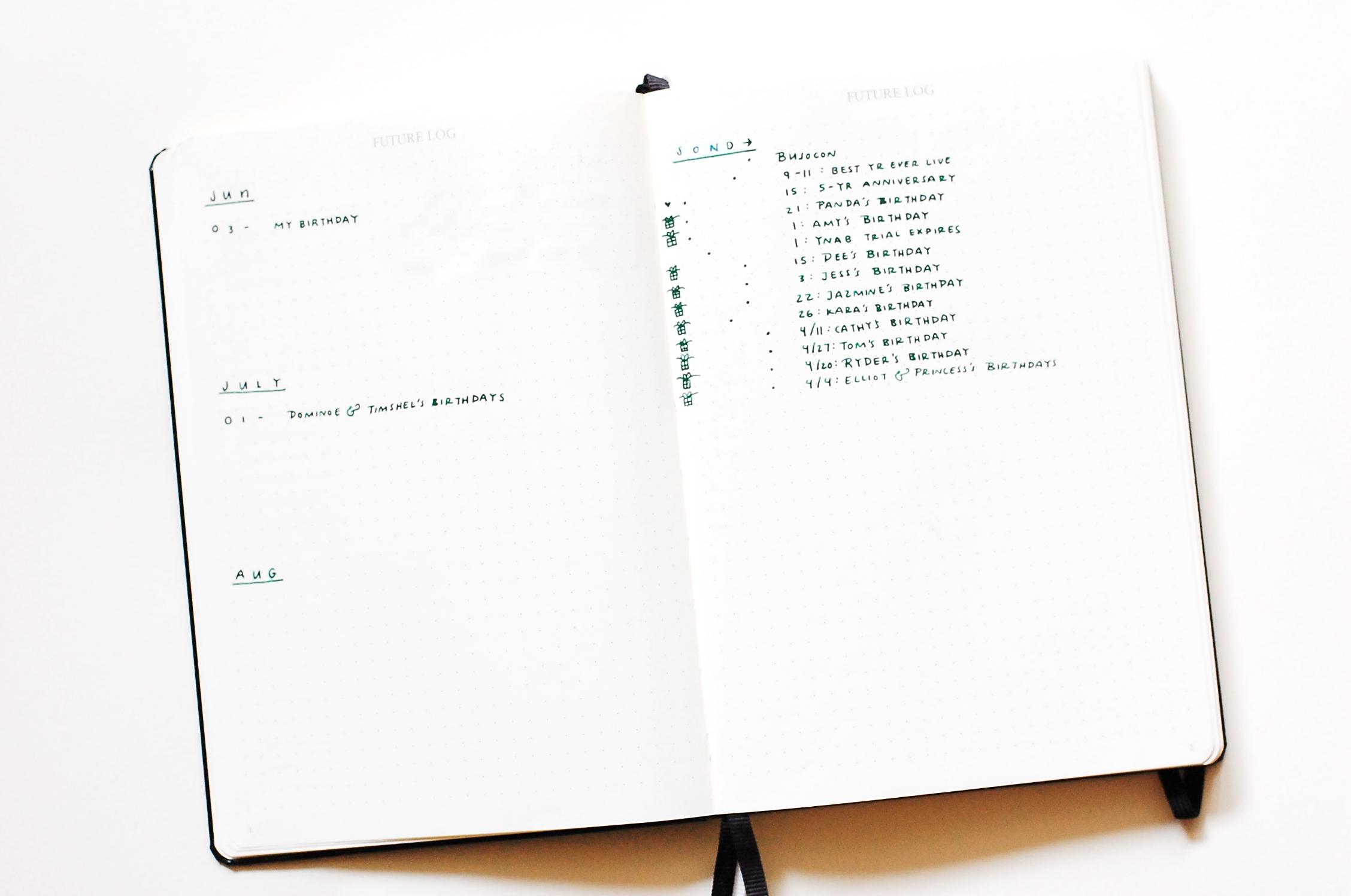 Future Log - Bullet Journal