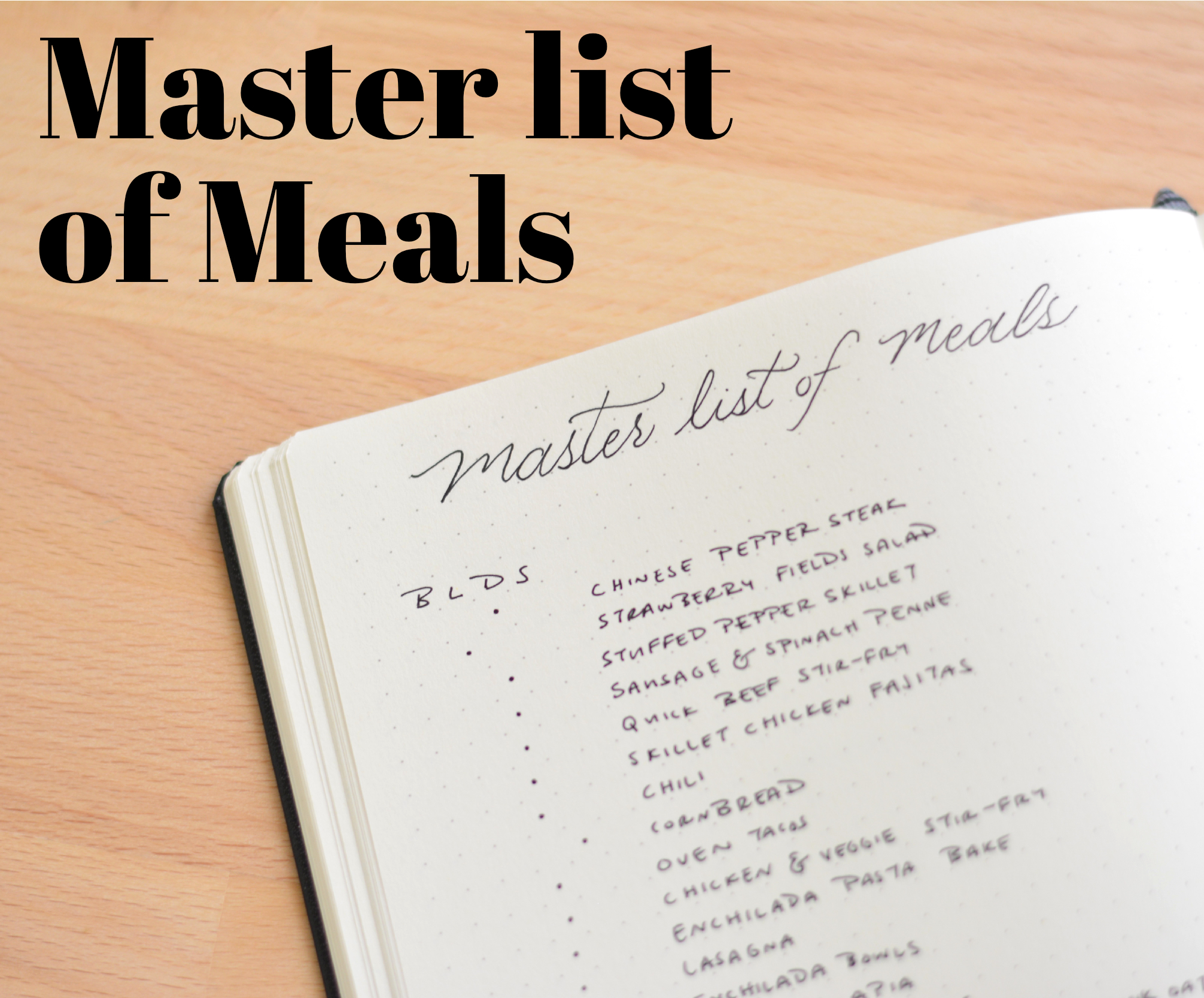 Master list of meals
