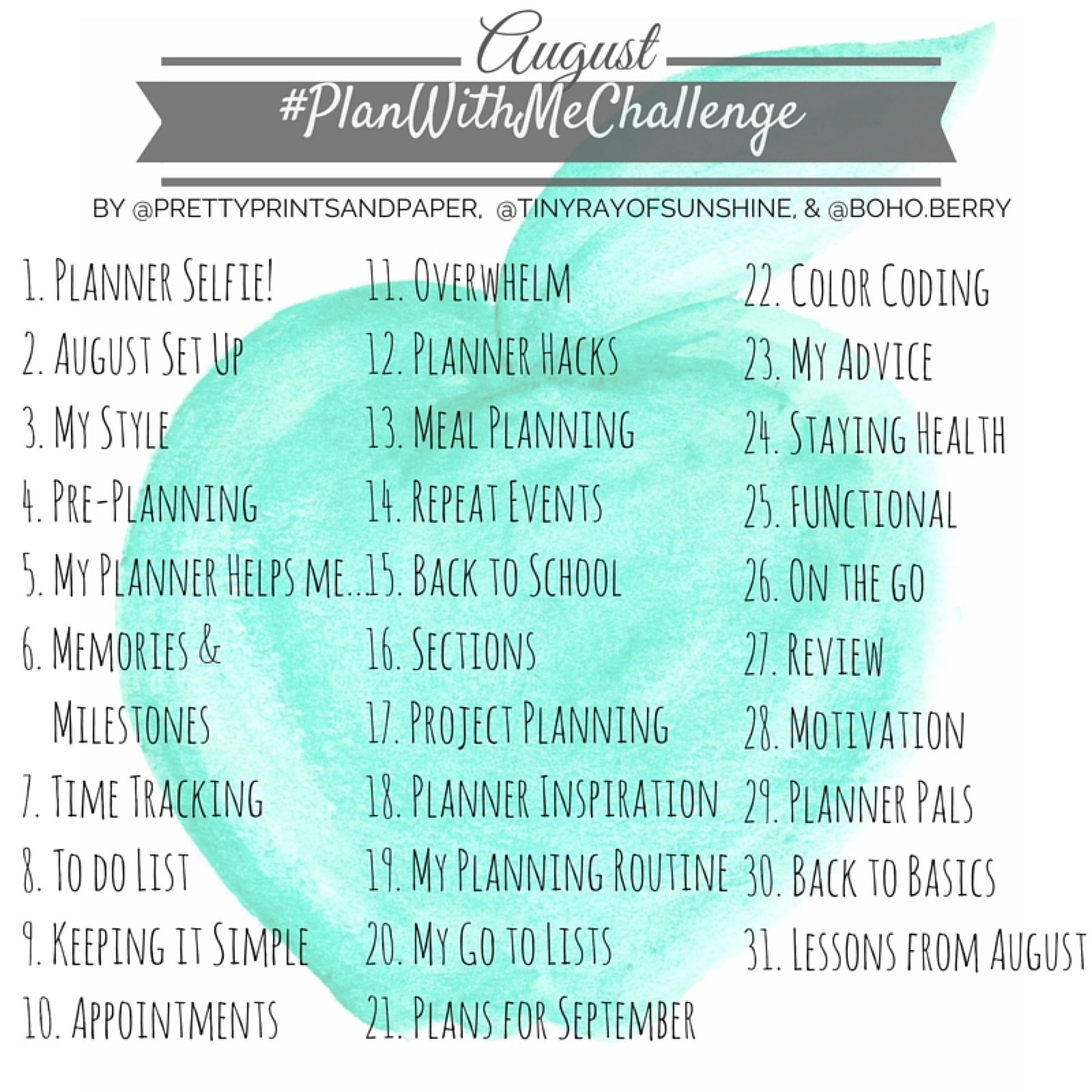 #PlanWithMeChallenge August 2016