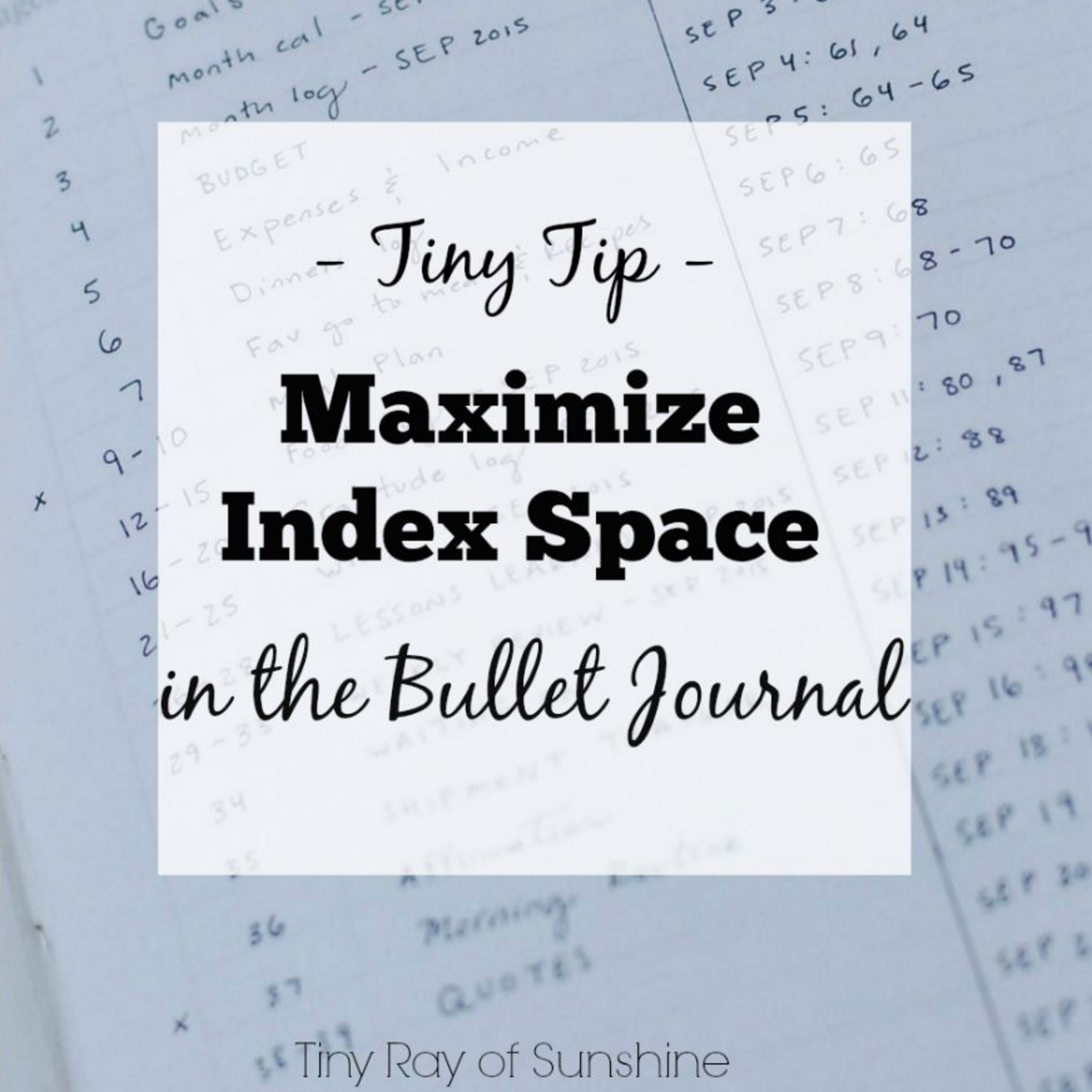 m aximize index space in the bullet journal