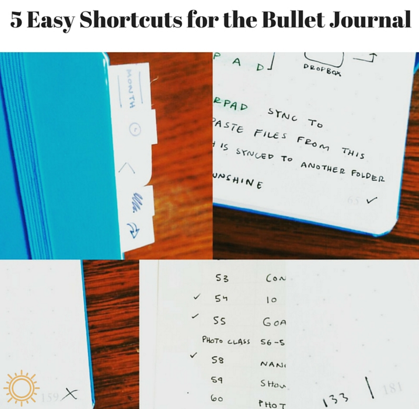 5  easy shortcuts for the bullet journal