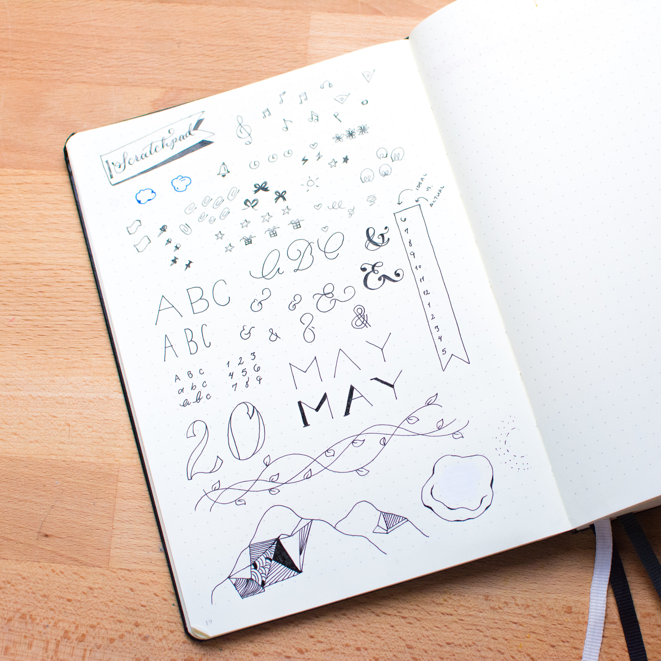 Add a scratchpad to your Bullet Journal to toy with ideas