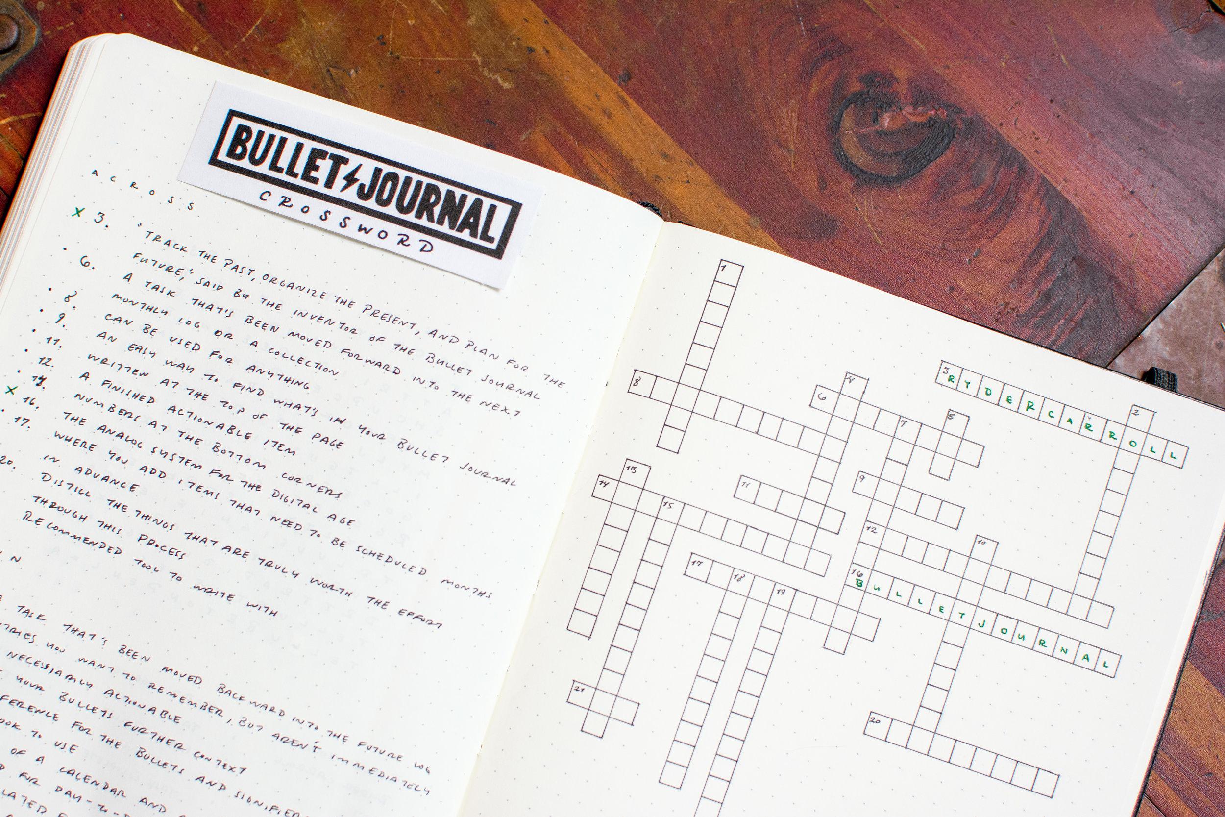 Bullet Journal Crossword
