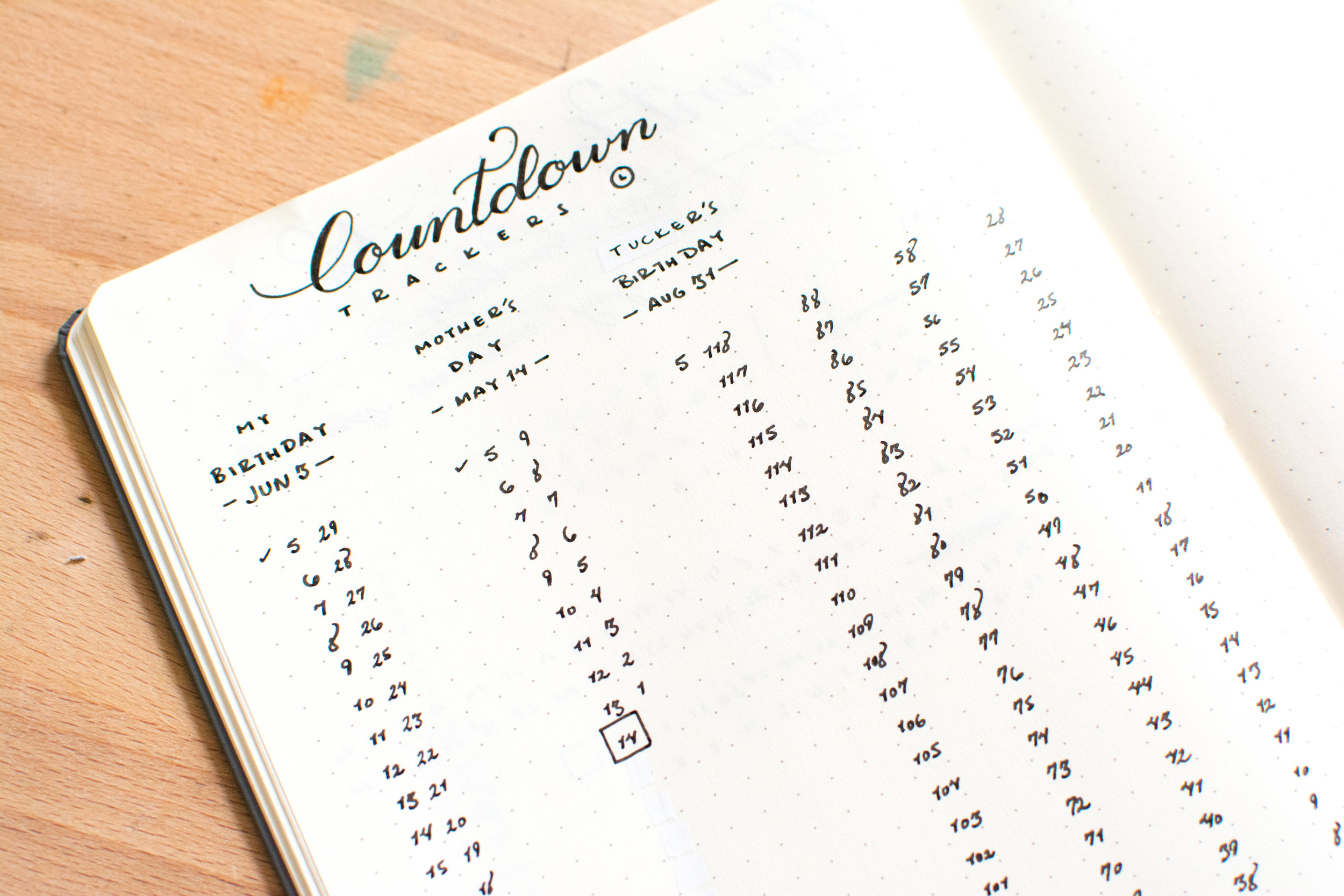 Add a Countdown Tracker to your Bullet Journal to keep track of special events