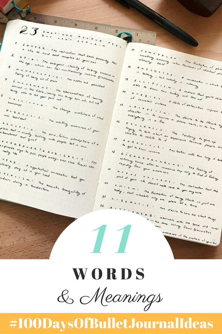 Words and Meanings Log Tiny Ray of Sunshine 100 DAys of Bullet Journal Ideas.png