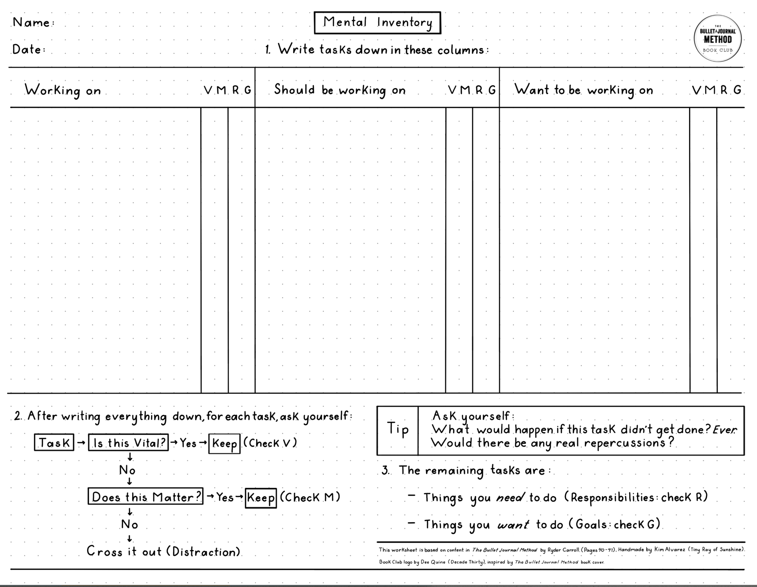 """Mental Inventory Worksheet - Based on """"Decluttering Your Mind"""" in Ryder's book. Designed to keep it all in one handy place."""